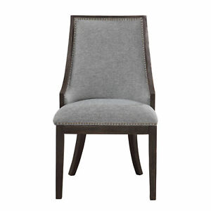 Terrific Details About Luxe Chic Denim Dark Wood Accent Chair Dining Side Light Blue Ebony Brass Bralicious Painted Fabric Chair Ideas Braliciousco