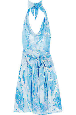 Tara Matthews Silk Georgette Wrap Halter Dress Vacation