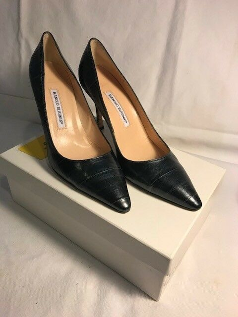 Manolo whiteo Pumps - Midnight bluee leather -40 1 2