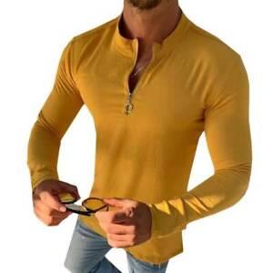 INCERUN Mens Long Sleeve Half Zip T shirt Muscle Slim Fit Jumper Blouse Tee Tops
