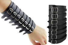 Fashion Black 7 Buckle Fasteners Synthetic Leather Bracelet Wristband Cuff
