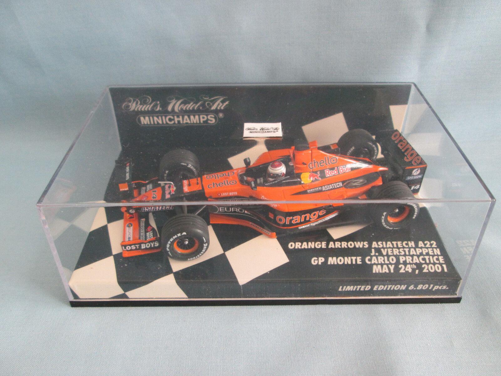 Minichamps Paul's Model Art orange Arrows Asiatech A22 J.Verstappen Lt Ed 1 43