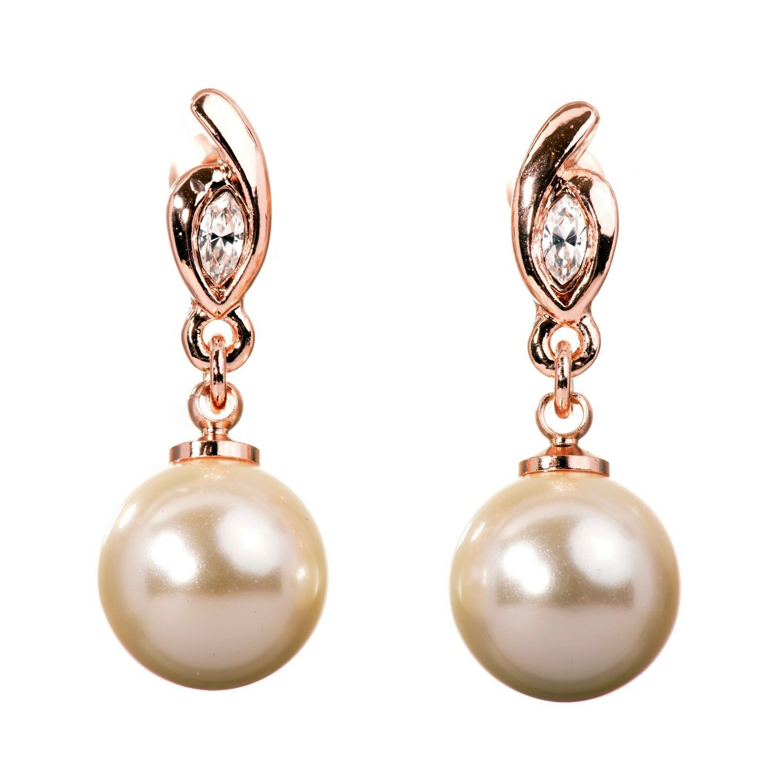 Crystals From Swarovski Pearl Drop Pierced Earrings Rose Gold Authentic 7305v