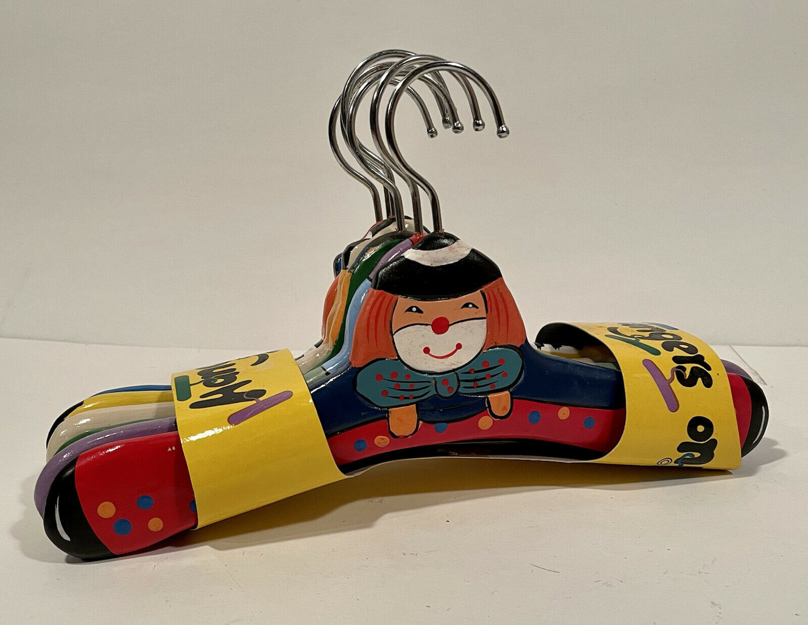 (6) Vintage Hand Painted Clowns Kids' Clothes Hangers - NEW IN PACKAGE