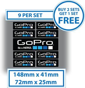 9 X Pegatinas GoPro Go Pro de ser un héroe calcomanías de vinilo resistente al agua 72x25mm y 148x41mm