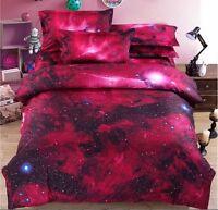 3D Galaxy Bedding Pillowcase Quilt Duvet Cover Set Or Flat Single/Double Size#a2