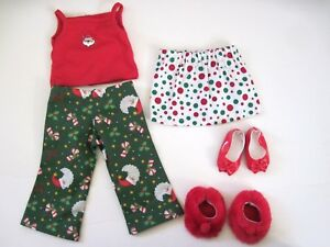 A LOT OF DOLL CLOTHES FIT AMERICAN GIRL PAJAMA /SKIRT CHRISTMAS OUTFIT