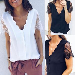 19e95b5b84a066 New Women Solid Color Petal T-Shirt V-neck Lace Short-sleeved Button ...