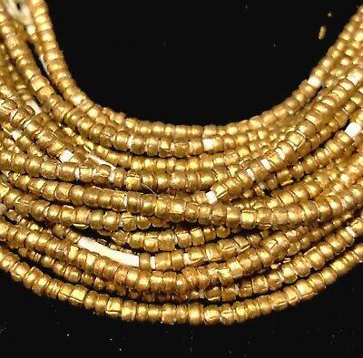 Copper Tiny Heishi Ethiopian Beads 1mm African 24-29 Inch Strand Handmade