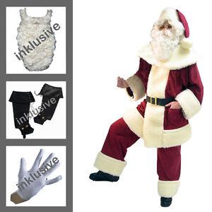 Weihnachtsmann-aus-Waschsamt-Bart-Gamaschen-Jacke-Hose-Muetze-Guertel