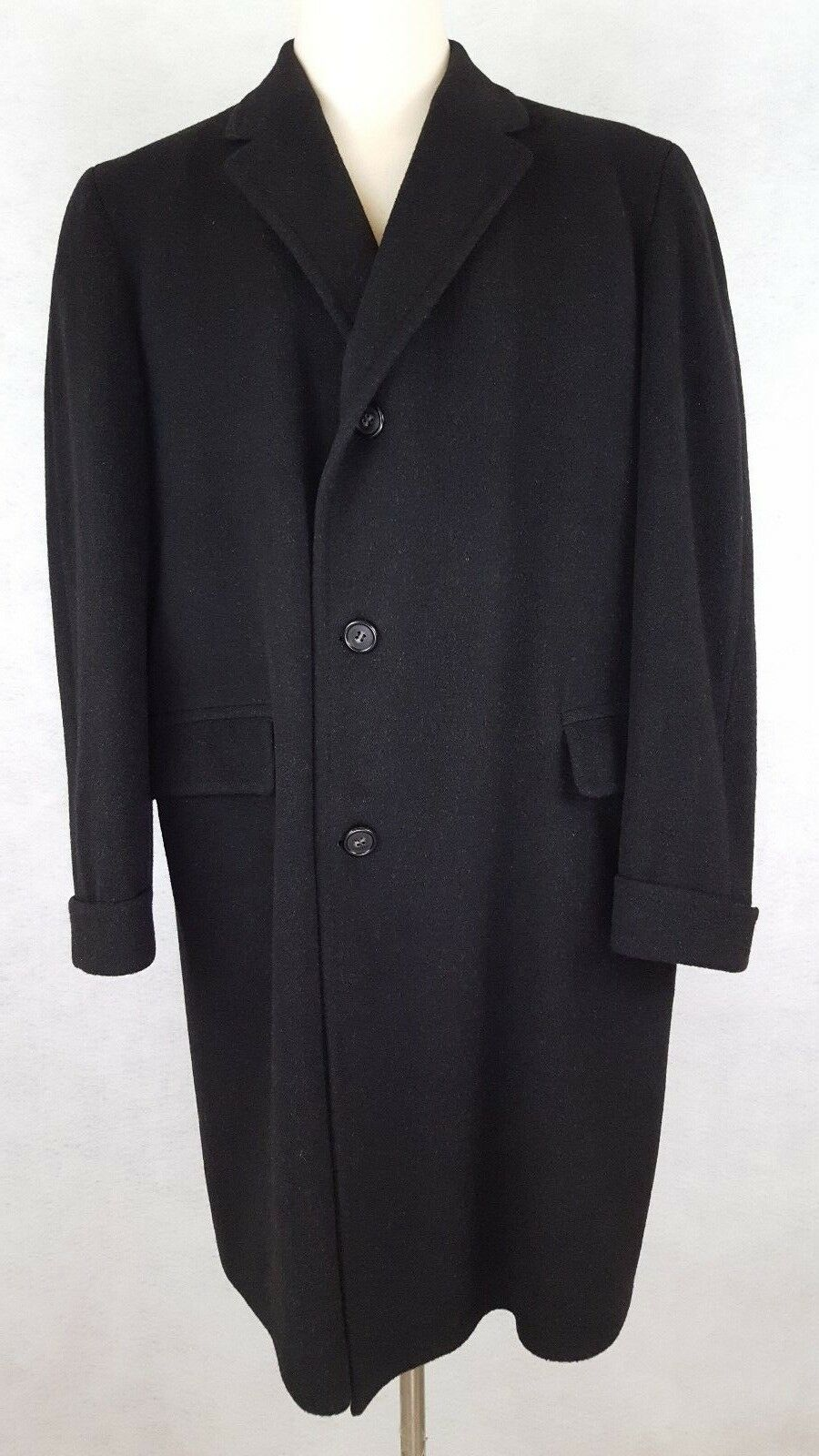 Herren Cashmere Coat Overcoat Charcoal grau Large Größe L Lined Vented USA 3 Button