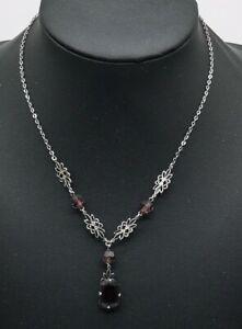 Lovely-Antique-Edwardian-Art-Deco-Sterling-Silver-Drop-Dangle-Necklace