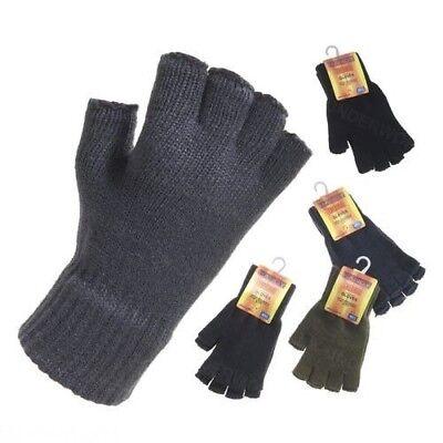 Bescheiden Thermo Fingerlose Handschuhe Unisex Herren Damen Gestrickt Warm Winter Halbe ZuverläSsige Leistung