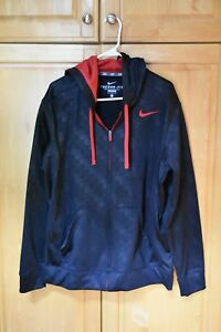 cf260849fdc4 Nike jacket Zip Up Therma Fit men s size Large black red EUC