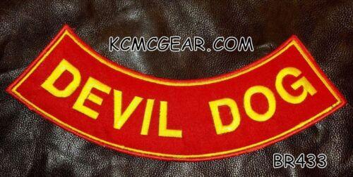 "DEVIL DOG Yellow on Red Patch Bottom Rocker for Biker Veteran Vest Jacket 10/"""