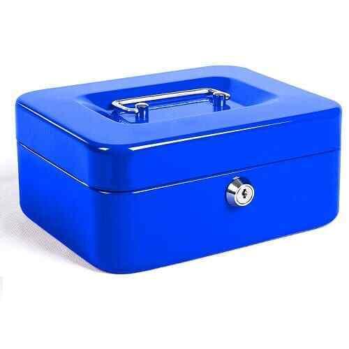 Caja fuerte metalica portatil caudales pequeña Azul