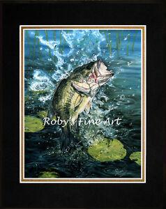 Matted-Largemouth-Bass-Fish-Art-Print-034-Line-Dance-034-Mat-8-034-x10-034-by-Roby-Baer-PSA
