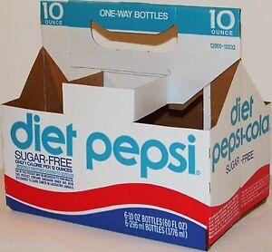 Vintage soda pop bottle carton PEPSI COLA DIET One Way Bottles new old stock