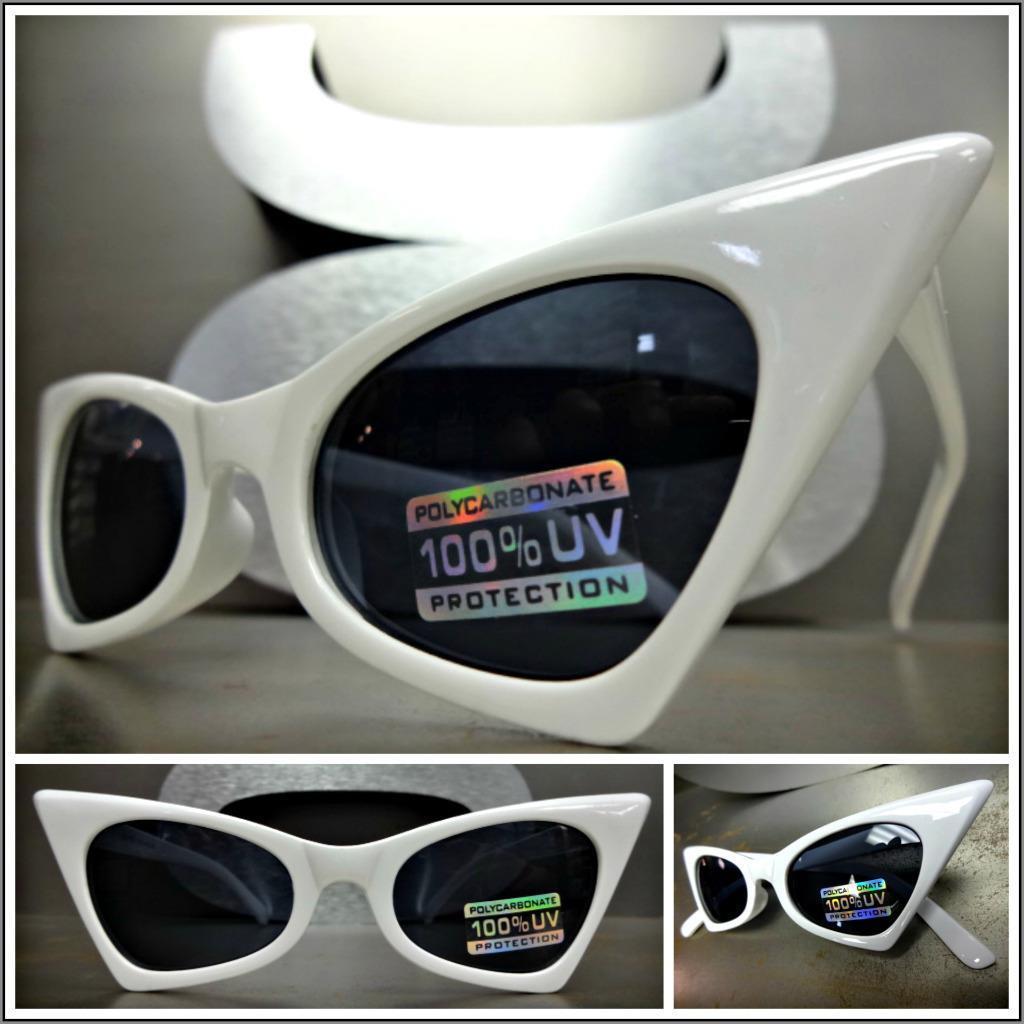 CLASSIC VINTAGE 60's RETRO CAT EYE Style SUN GLASSES Small White Fashion Frame