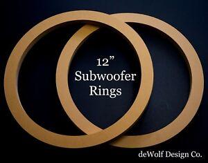 "1 PAIR MDF WOOD SPEAKER RINGS RECESSED W// BEZEL 8/"" FOR FIBERGLASS INSTALL"