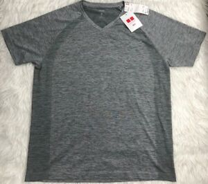 Details about UNIQLO Dry-Ex SS Athletic Fitness V-Neck Mesh T-Shirt Men's S  GRAY **NWT**