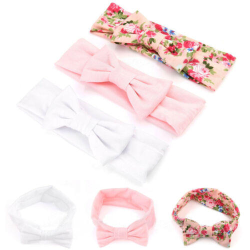 3pcs elastische Newborn Girl Stirnband Baumwolle Print Haar Band Bogen-Knoten