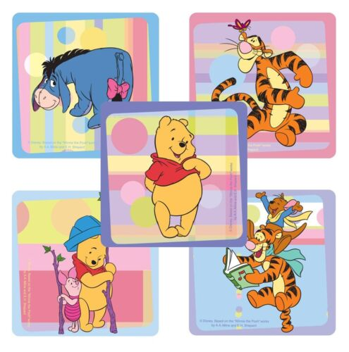 """2.5/"""" x 2.5/"""" each 25 Winnie the Pooh Playtime Stickers Party Favors"""