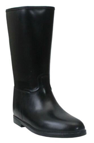 Womens Ladies Black Mid Calf Waterproof Rain Festival Riding Wellington Boots uk