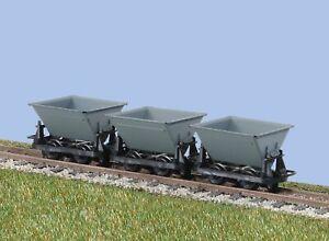 Peco-GR-331-OO-9-Gauge-Hudson-Rugga-V-Skip-Wagon-Set-of-3-Grey