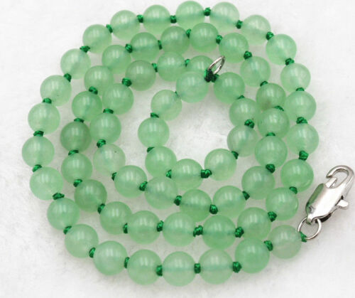 """Long 18/"""" 25/"""" 36/"""" 50/"""" 8mm Light Green Jade Gemstones  Beads Hand Knotted Necklace"""