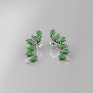 Details About Emerald Earrings Studs 14k White Gold Filled