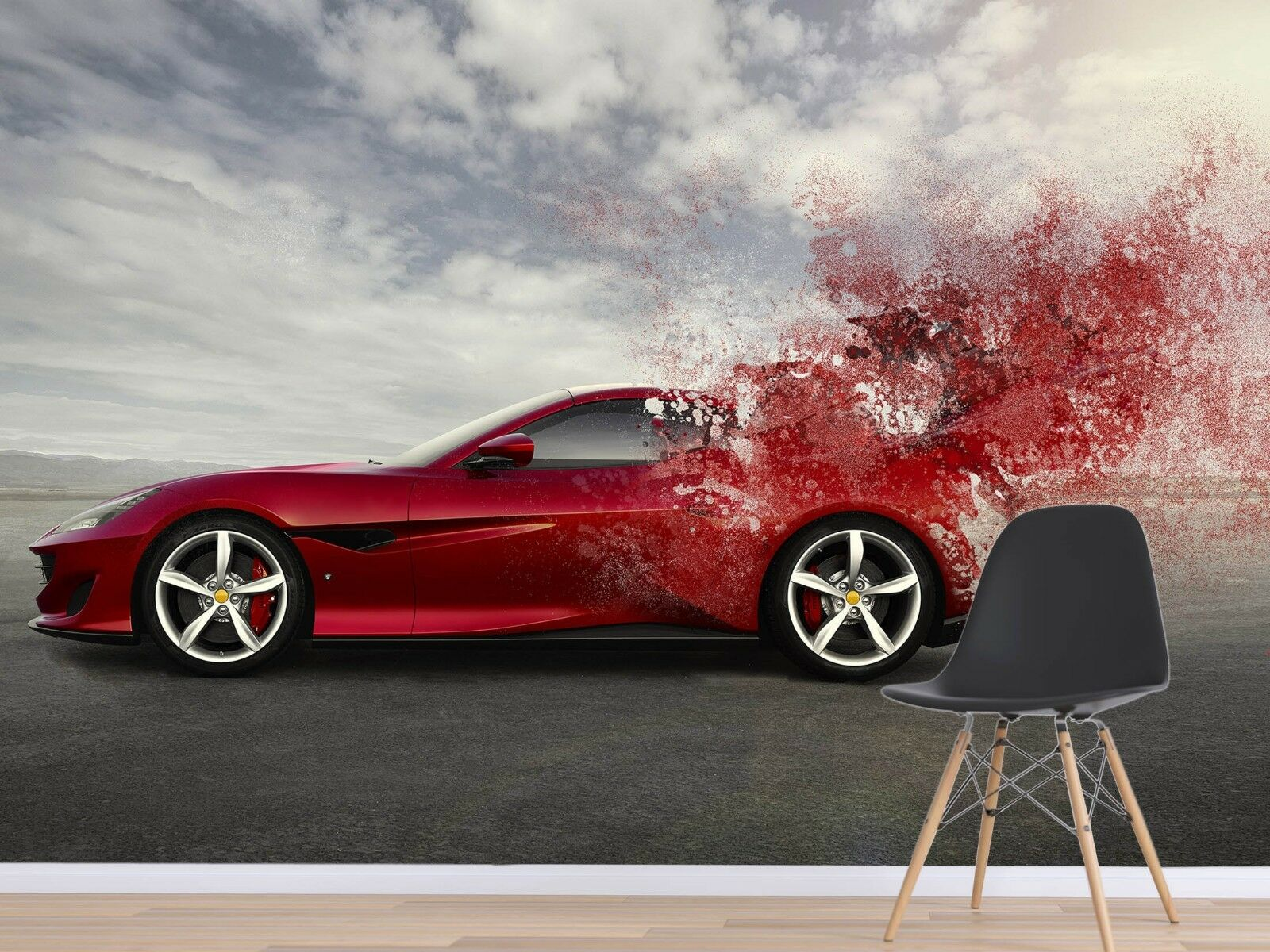 3d rouge voiture 967 Wallpaper Mural Wallpaper Wallpaper Picture Family de Sidney