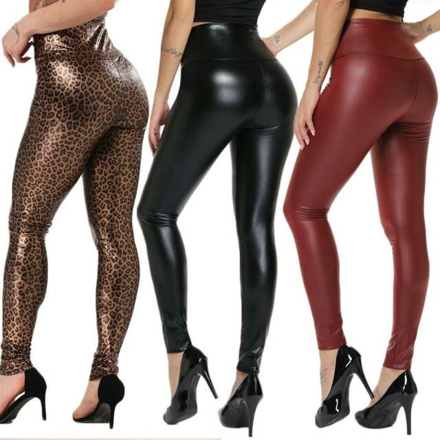 Women Push Up Legging Black  Faux Leather Trousers Stretchy Back Zipper Leggings