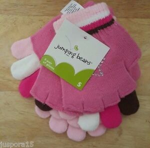 Jumping-Beans-NWT-Girls-Multi-Color-3-Pack-Gloves-Size-S