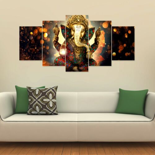 Lord Ganesha Image 5 Split Wall Panels for Living or Prayer Room #037 HKTPIC-UK