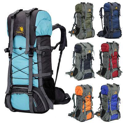60L Camping Travel Rucksack Waterproof Backpack Climbing Hiking Bag New 8 Colors