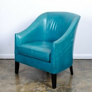 Stupendous Details About Mitchell Gold Bob Williams Cerulean Blue Leather Armchair Gmtry Best Dining Table And Chair Ideas Images Gmtryco