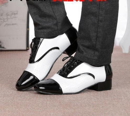 New Mens Latin Modern Dance shoes Patent Leather Lace Up Brogue Breathable shoes