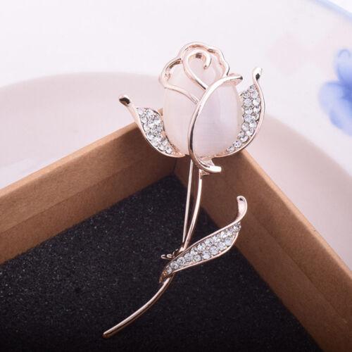 Vintage Alloy Rhinestone Rose Flower Shape Brooch Pin Women Fashion Jewelry Gift