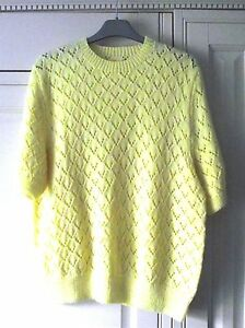 HAND-KNITTED-YELLOW-LEMON-SHORT-SLEEVED-Size-40-42-034-CHEST-NEW