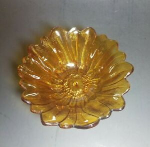 Vintage Marigold Carnival Glass Candy Dish Antique Amber Carnival Glass Nut Dish
