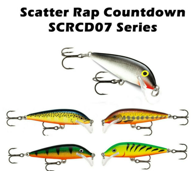 "RAPALA SCATTER RAP SERIES COUNTDOWN /""PERCH"" FISHING LURE #SCRCD05 P"