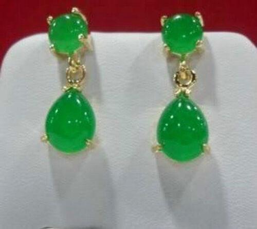 Natural green Chalcedony Drop sway earring AAA