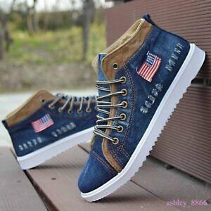 Mens Casual Fashion Sneakers Korean Flat High Top Athletic