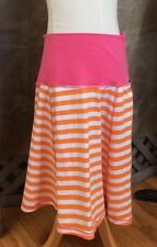 Yoga-Waist ORANGE STRIPED T-Knit SKIRT PLASTISOCK Super-SOFT NWOT 12-14 S Girls