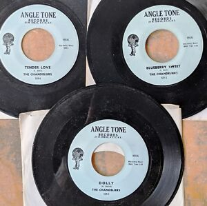 KANSAS-CITY-DOO-WOP-45-LOT-3-repro-45s-by-THE-CHANDELIERS-on-ANGLE-TONE-Mint