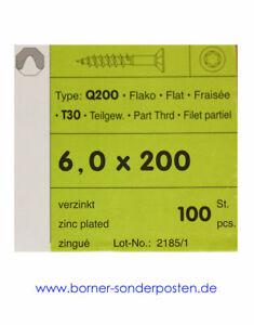 Schrauben-Torx-verzinkt-200-mm-Laenge-6-0-mm-Dicke-100-Stueck-Q200-T30-neu-OVP