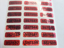 QTY 100-SERIAL NUMBERED RED TINTED HOLOGRAM SECURITY VOID LABELS STICKERS