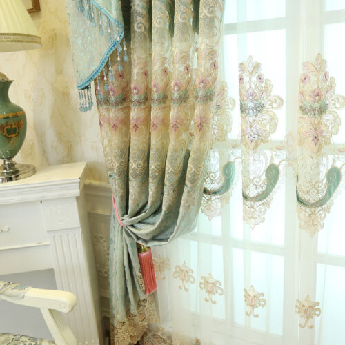 Chenille Curtains Fabric Embroidered Hollow Out Tulle Window Drapes Panel Modern