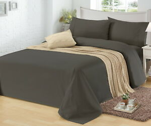 1500TC-CVC-Cotton-Sheet-Set-Fitted-Flat-Pillowcase-Easy-Care-All-Sizes-10-Colors